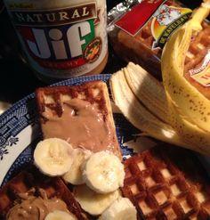 waffle peanut butter and banana sandwich